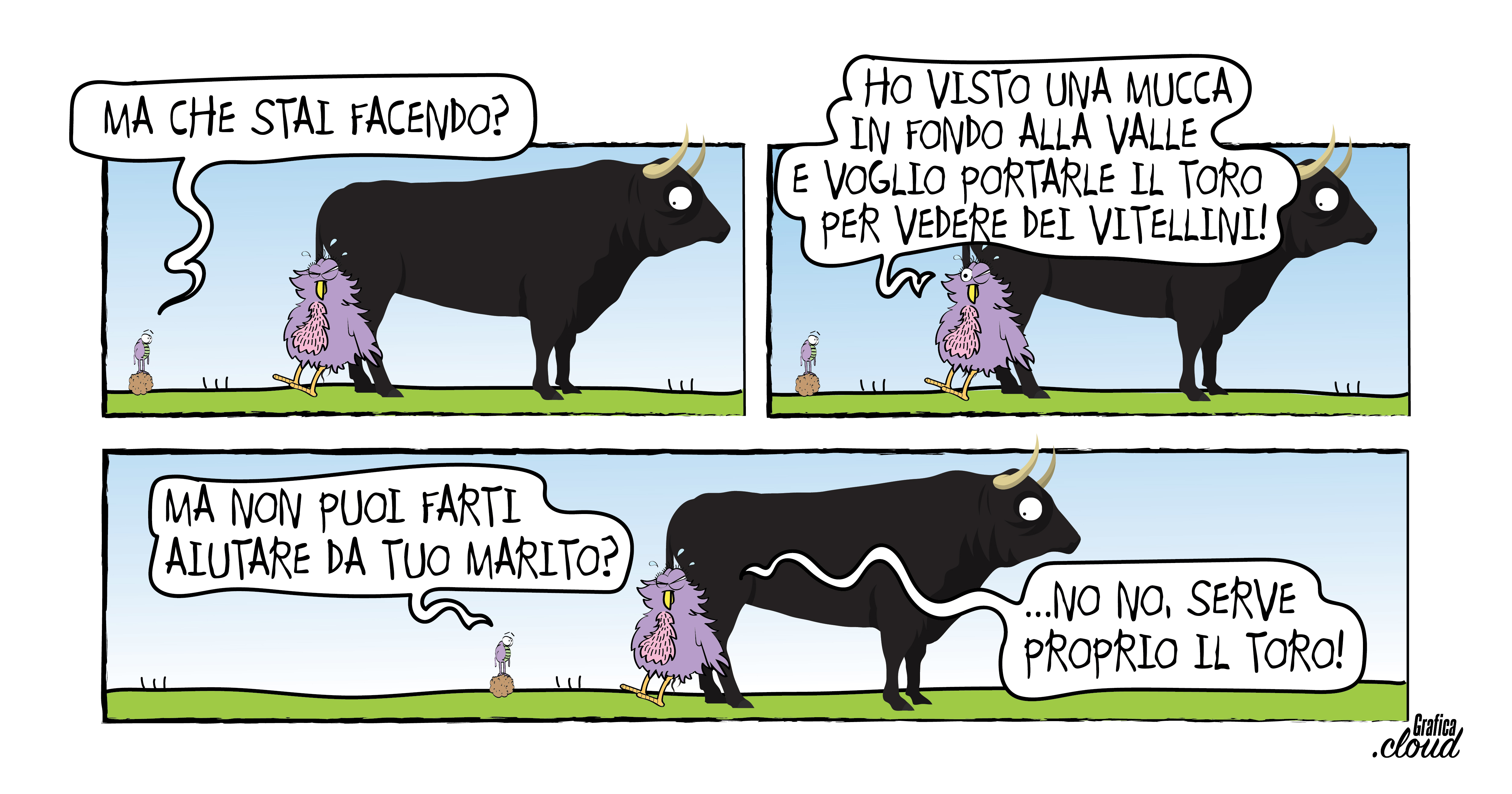 Vignette della serie Caccaruga&co. I protagonisti sono una strana gallina, uno stercorario e un toro