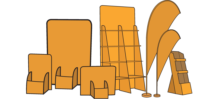 Composizione digitale raffigurante vari espositori arancioni. Sono presenti ad esempio: espositori da banco ed espositori a bandiera