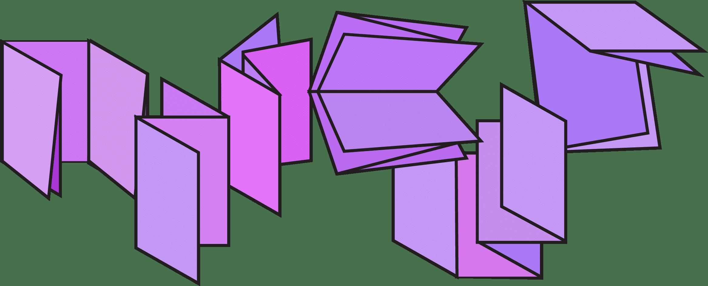 Illustrazione di una composizione di pieghevoli viola