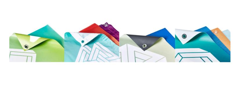 Immagine unica di 4 foto quadrate affiancate. le immagini raffigurano 4 particolari di angoli di striscioni con occhiello