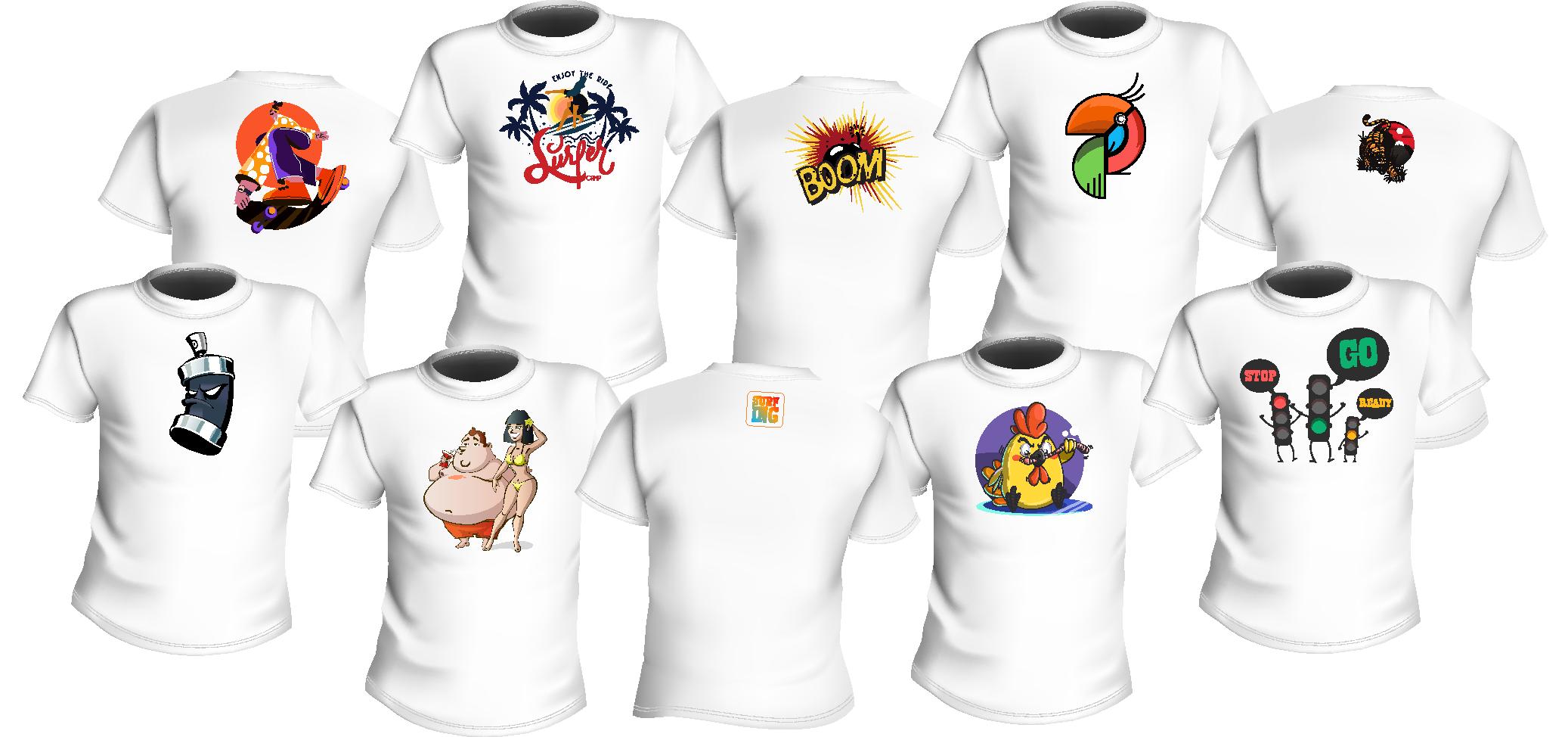 Immagine raffigurante 10 t-shirt in file sovrapposte di cinque. Cinque T-shirt sopra e cinque sotto.